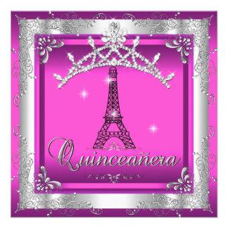 Quinceanera 15 Pink Silver Tiara Eiffel Tower Announcements