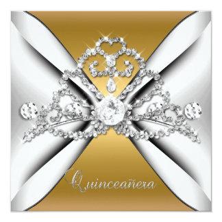 Quinceanera 15 Tiara Gold Silver White Personalized Invitation
