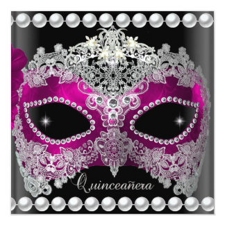 Quinceanera 15 Tiara Pink Mask Silver black Card