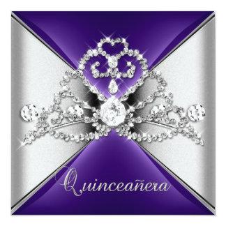 Quinceanera 15 Tiara Purple Silver White Diamond Invitation