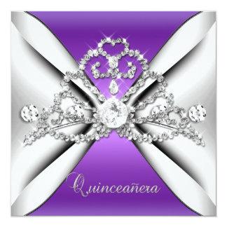 Quinceanera 15 Tiara Purple Silver White Invitation