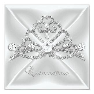 Quinceanera 15 Tiara Silver White Diamond 2 Personalized Announcements