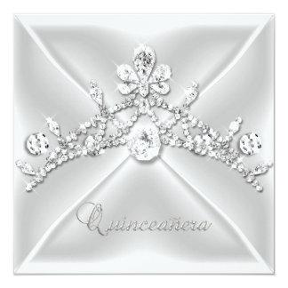 Quinceanera 15 Tiara Silver White Diamond Invitations