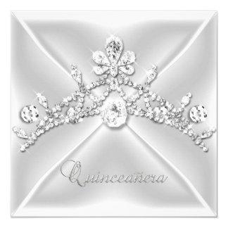 Quinceanera 15 Tiara Silver White Diamond 5.25x5.25 Square Paper Invitation Card