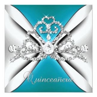 Quinceanera 15 Tiara Teal Blue Silver White Card