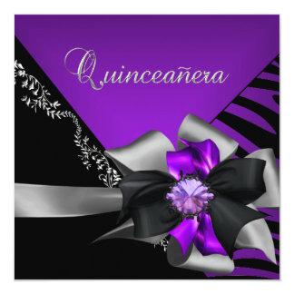 """Quinceanera 15 Zebra Purple Black Silver 5.25"""" Square Invitation Card"""