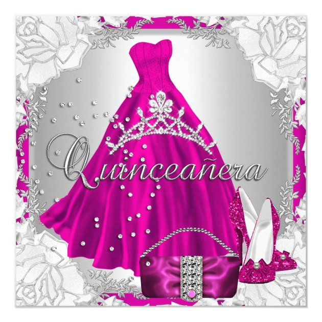 quinceanera 15th 15 birthday pink dress shoes card