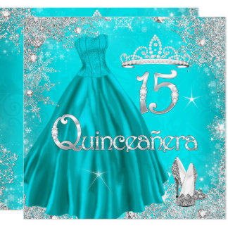 Quinceanera 15th Aqua Silver Snowflakes Party 2 Card