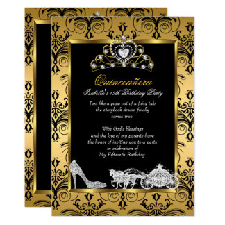 Quinceanera 15th Birthday Black Gold Damask Card
