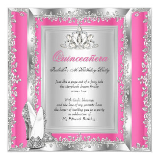 Quinceanera 15th Birthday Candy Pink Silver Shoes Card