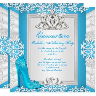 Quinceanera 15th Birthday Cinderella Blue Heel Card