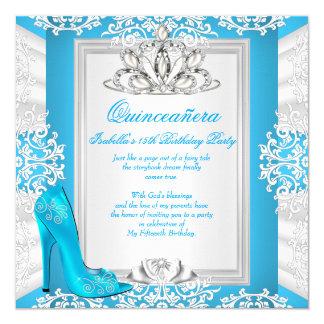 Quinceanera 15th Birthday Cinderella Blue Heel Invitation