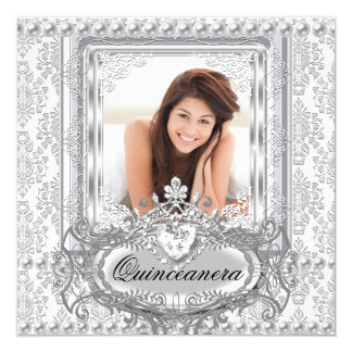 Quinceanera 15th Birthday Damask Silver White Card