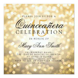 Quinceanera 15th Birthday Gold Bokeh Lights Card