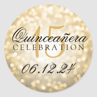 Quinceanera 15th Birthday Gold Bokeh Lights Classic Round Sticker