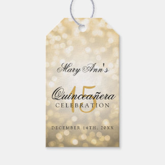 Quinceanera 15th Birthday Gold Bokeh Lights Gift Tags