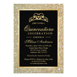 15th birthday party invitations announcements zazzle quinceanera 15th birthday gold glitter sparkles card filmwisefo Image collections