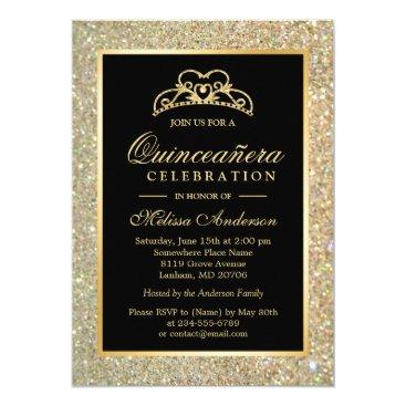 CardHunter Quinceanera 15th Birthday Gold Glitter Sparkles Card