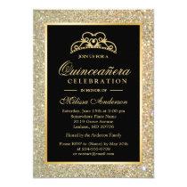 Quinceanera 15th Birthday Gold Glitter Sparkles Invitation