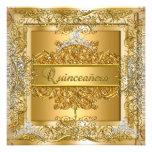 Quinceañera 15th Birthday Gold Silver Tiara Personalized Invitation