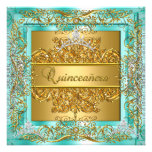 Quinceañera 15th Birthday Gold Teal Silver Tiara Personalized Invitations