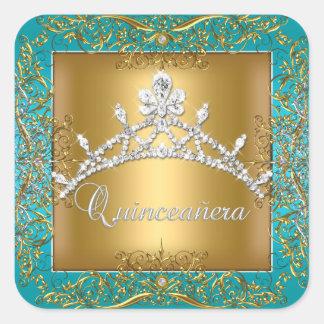 Quinceañera 15th Birthday Gold Teal Silver Tiara Square Sticker