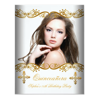 Quinceañera 15th Birthday Gold White Lace Photo 4.25x5.5 Paper Invitation Card