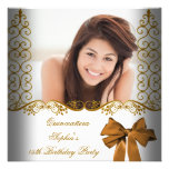 Quinceañera 15th Birthday Gold White Lace Photo Personalized Announcement