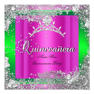 Quinceanera 15th Birthday Hot Pink Lime Tiara Invites