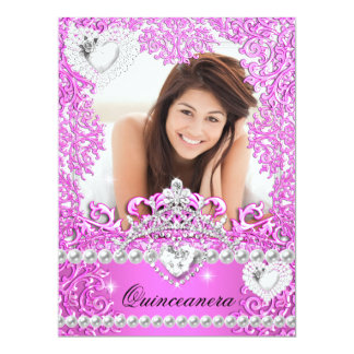 Quinceanera 15th Birthday Hot Pink Silver White 3 Invitations
