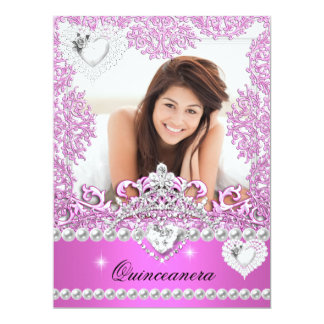 Quinceanera 15th Birthday Hot Pink Silver White Personalized Announcement