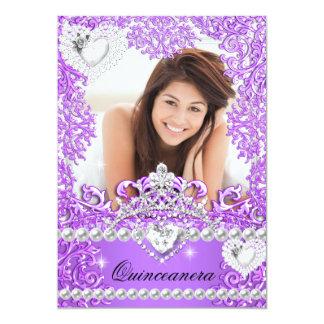 Quinceanera 15th Birthday Hot Purple Silver White Card