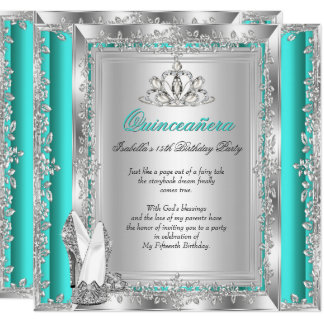 Quinceanera 15th Birthday Jade Green Silver Shoes Card