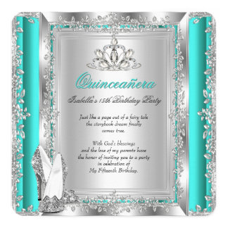 Quinceanera 15th Birthday Jade Green Silver Shoes Invitation