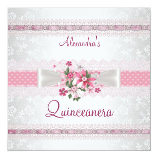 Quinceanera 15th Birthday Lace Pink White Floral Card