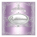 Quinceanera 15th Birthday Lilac Pink Silver Star 5.25x5.25 Square Paper Invitation Card