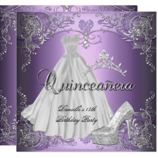Quinceanera 15th Birthday Lilac Purple Card