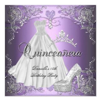 Quinceanera 15th Birthday Lilac Purple 5.25x5.25 Square Paper Invitation Card
