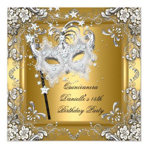 Quinceanera 15th Birthday Masquerade Mask Gold 5.25x5.25 Square Paper Invitation Card