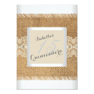 Quinceanera 15th Birthday Party beige lace Burlap Card