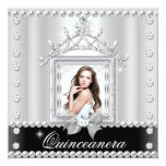 Quinceanera 15th Birthday Party Black White Personalized Invitations