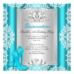Quinceanera 15th Birthday Party Blue Shoes 6 Custom Invites