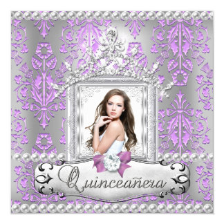 Quinceanera 15th Birthday Party Damask Lilac Pearl 5.25x5.25 Square Paper Invitation Card