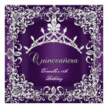 Quinceanera 15th Birthday Party Dark Purple Custom Invite