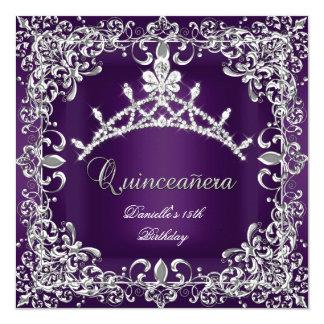 Quinceanera 15th Birthday Party Dark Purple 5.25x5.25 Square Paper Invitation Card