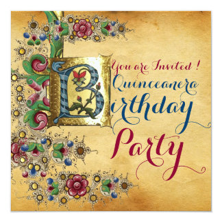 QUINCEANERA 15th BIRTHDAY PARTY FLORAL PARCHMENT Card