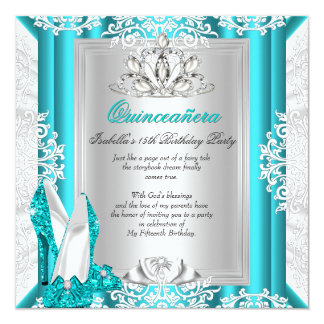 Quinceanera 15th Birthday Party Glitter Blue Shoes Card