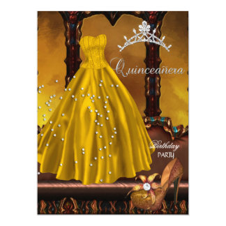 Quinceanera 15th Birthday Party Gold Dress Announcements