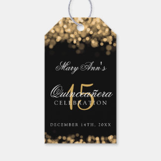 Quinceanera 15th Birthday Party Gold Lights Gift Tags
