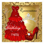 quinceanera 15th Birthday Party Gold Red Dress Personalized Invite